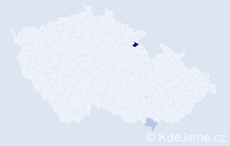 Příjmení: 'Harvaník', počet výskytů 3 v celé ČR
