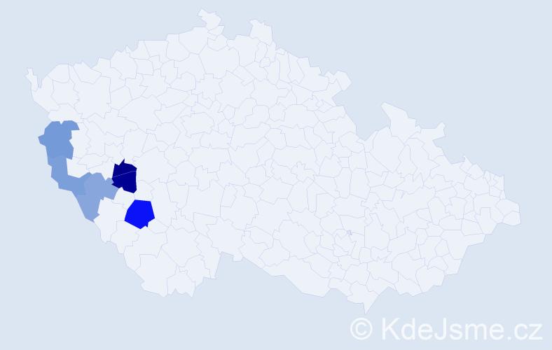 Příjmení: 'Čínovcová', počet výskytů 8 v celé ČR