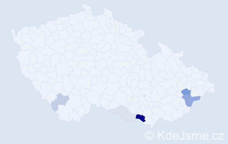 Příjmení: 'Lelíková', počet výskytů 16 v celé ČR