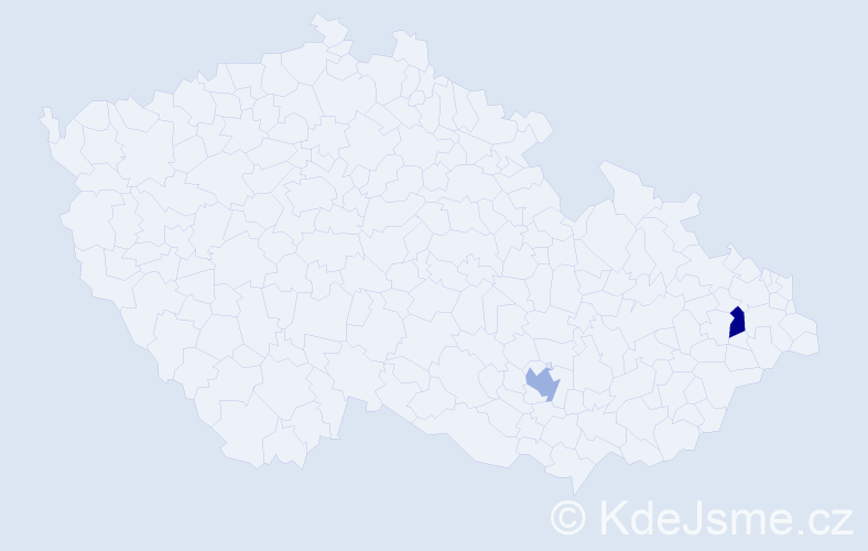 Příjmení: 'Gulák', počet výskytů 4 v celé ČR