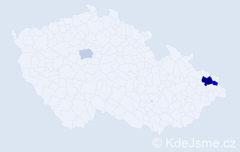 Příjmení: 'Čurlíková', počet výskytů 5 v celé ČR
