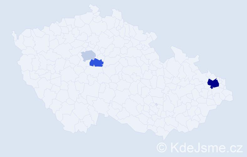 Příjmení: 'Frndák', počet výskytů 9 v celé ČR