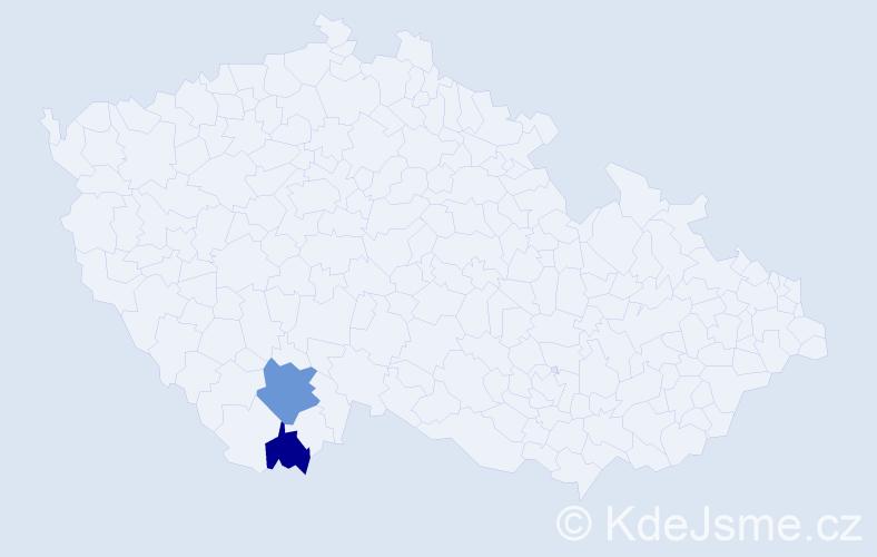 Příjmení: 'Herál', počet výskytů 3 v celé ČR