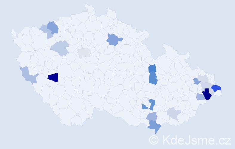 Příjmení: 'Juchová', počet výskytů 42 v celé ČR