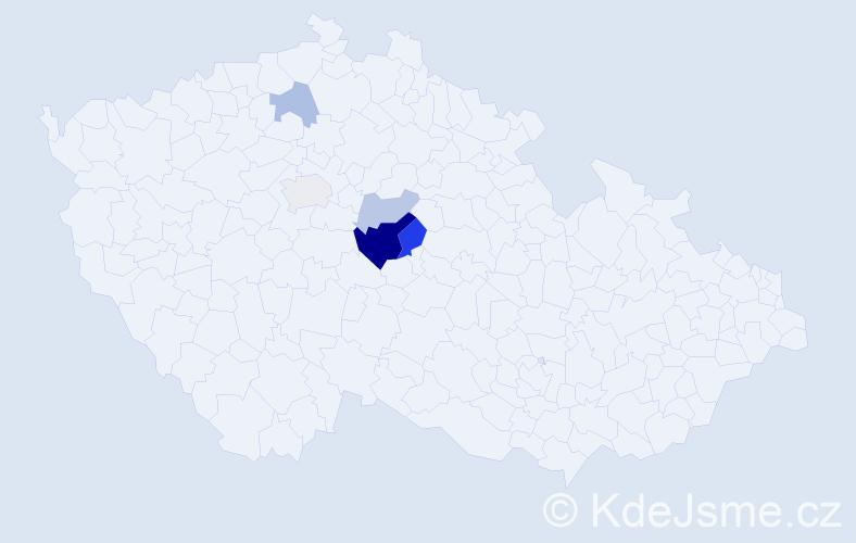 Příjmení: 'Bajkai', počet výskytů 11 v celé ČR