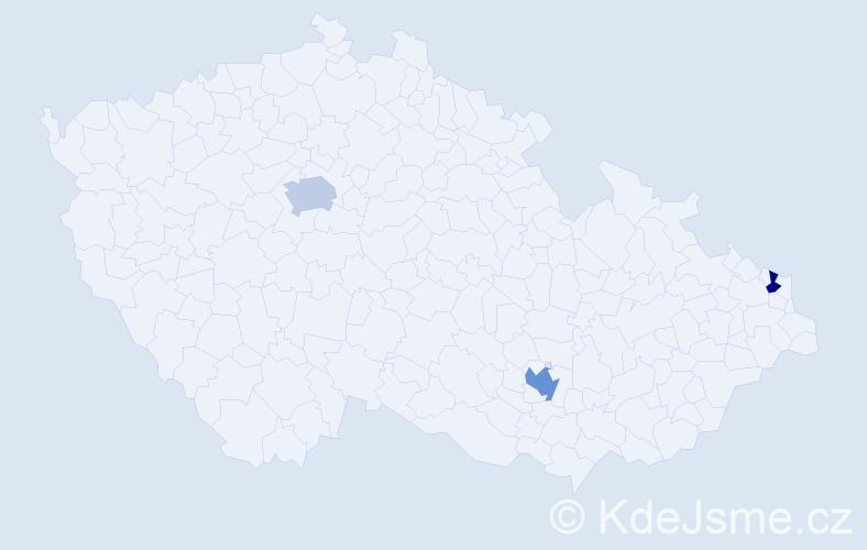 Příjmení: 'Grúberová', počet výskytů 9 v celé ČR