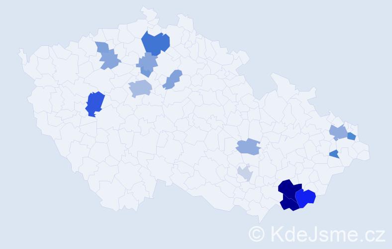 Příjmení: 'Hurábová', počet výskytů 51 v celé ČR