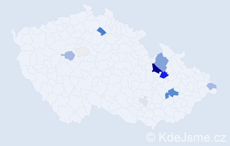 Příjmení: 'Kácelová', počet výskytů 17 v celé ČR