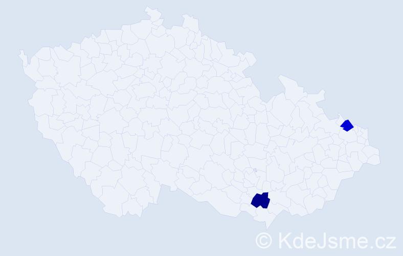 Příjmení: 'Kekeľák', počet výskytů 4 v celé ČR