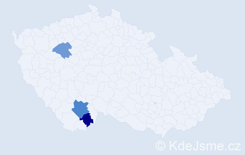 Příjmení: 'Justínová', počet výskytů 5 v celé ČR