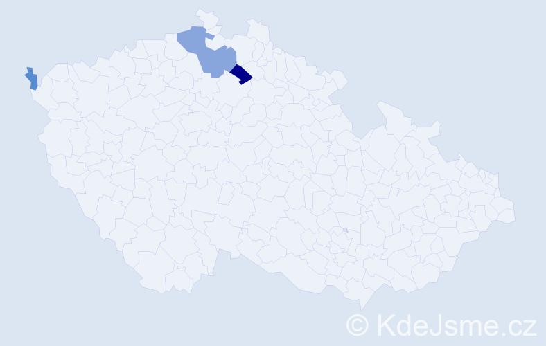 Příjmení: 'Holent', počet výskytů 7 v celé ČR