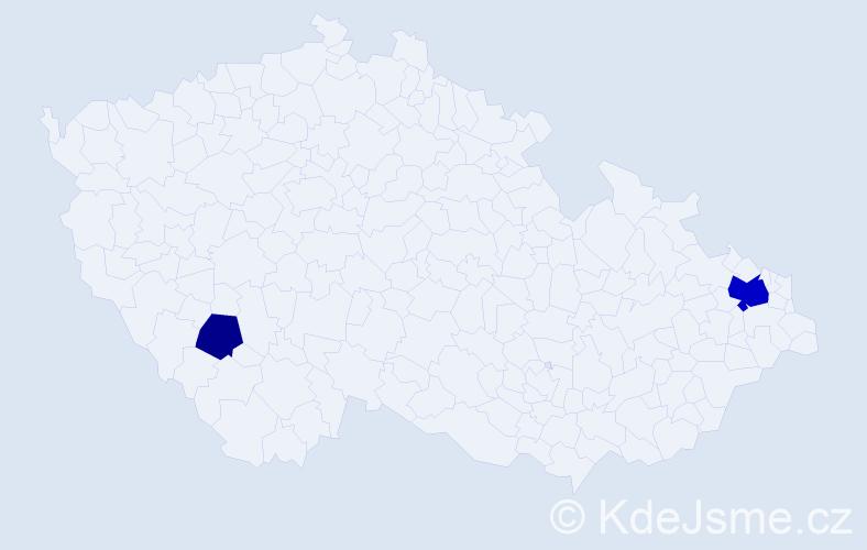 Příjmení: 'Gűckelhornová', počet výskytů 5 v celé ČR