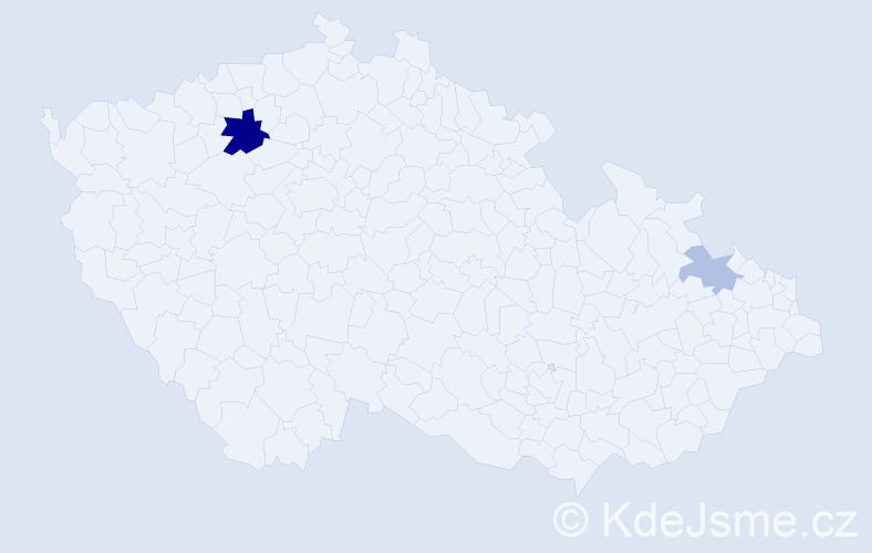 Příjmení: 'Dandel', počet výskytů 5 v celé ČR