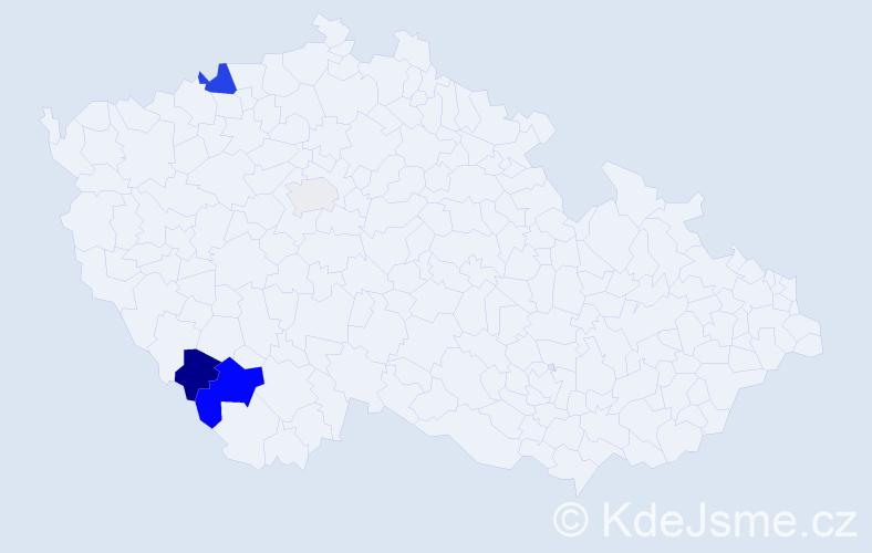 Příjmení: 'Lachkovič', počet výskytů 9 v celé ČR