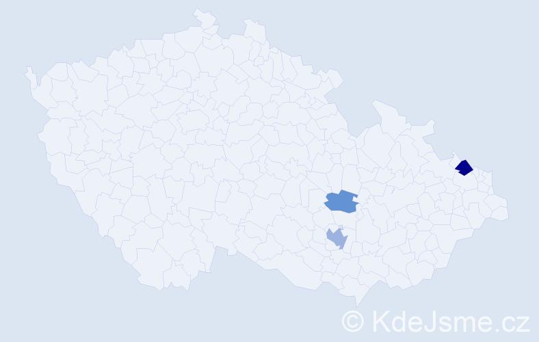 Příjmení: 'Dopplerová', počet výskytů 5 v celé ČR