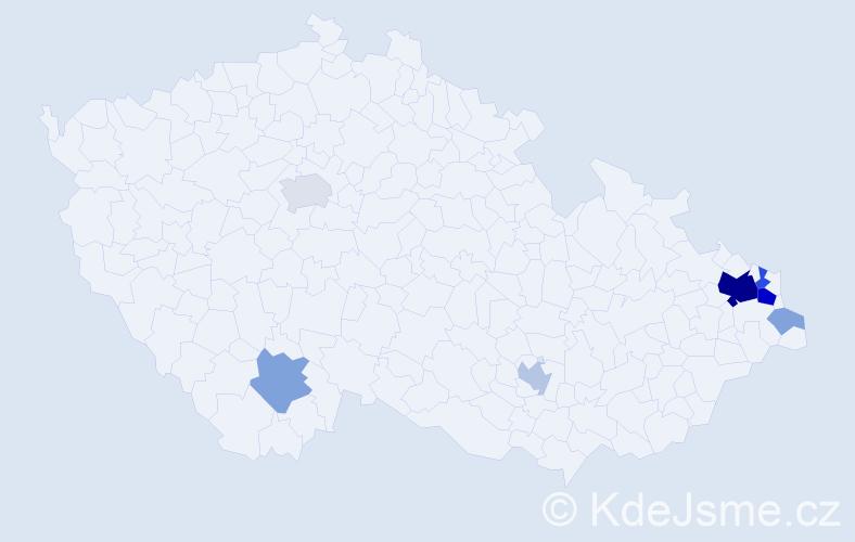 Příjmení: 'Lasek', počet výskytů 28 v celé ČR