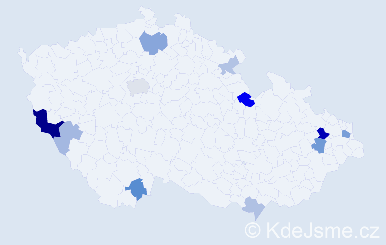 Příjmení: 'Jakuš', počet výskytů 25 v celé ČR