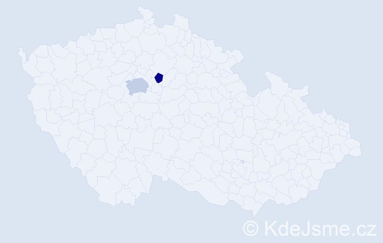 Příjmení: 'Dokou', počet výskytů 4 v celé ČR