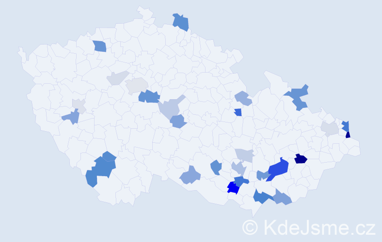 Příjmení: 'Kavická', počet výskytů 78 v celé ČR