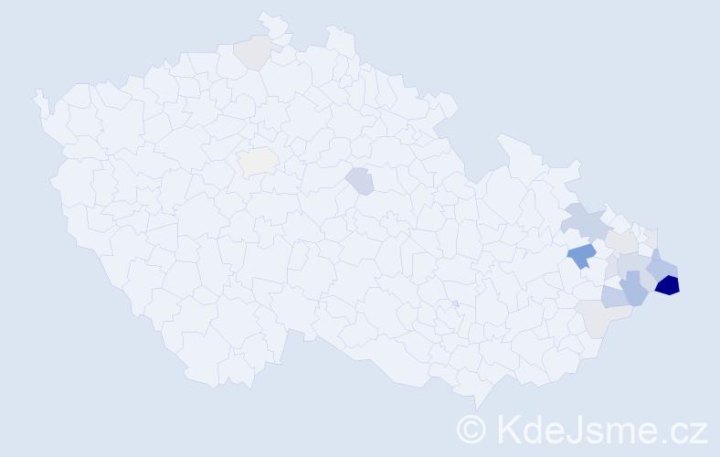 Příjmení: 'Kadlubiecová', počet výskytů 44 v celé ČR