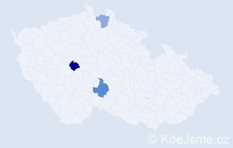 Příjmení: 'Dešt', počet výskytů 3 v celé ČR