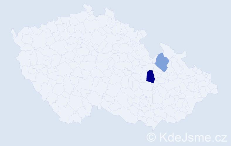 Příjmení: 'Getzlová', počet výskytů 5 v celé ČR