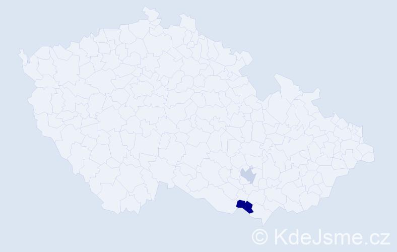 Příjmení: 'Iderná', počet výskytů 2 v celé ČR