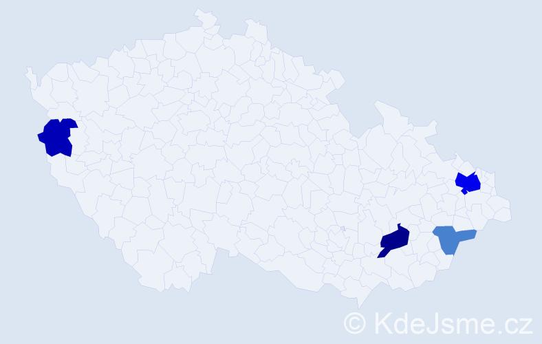 Příjmení: 'Blštáková', počet výskytů 9 v celé ČR