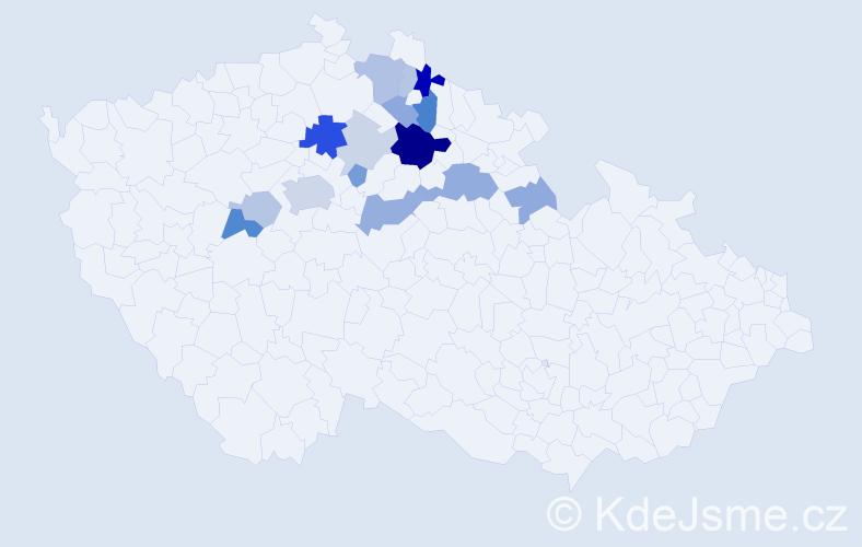 Příjmení: 'Bryscejn', počet výskytů 38 v celé ČR