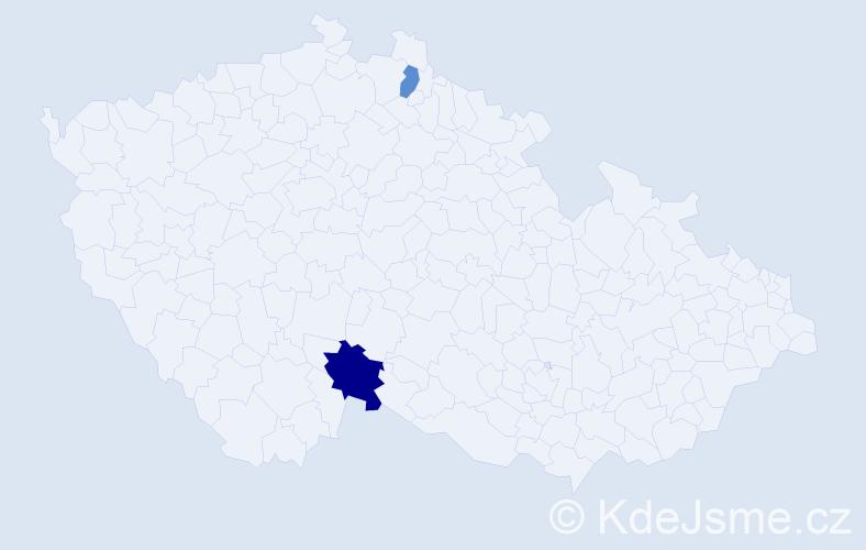 Příjmení: 'Hoti', počet výskytů 6 v celé ČR