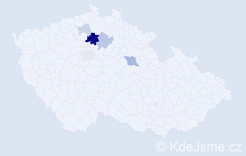 Příjmení: 'Čvančar', počet výskytů 18 v celé ČR