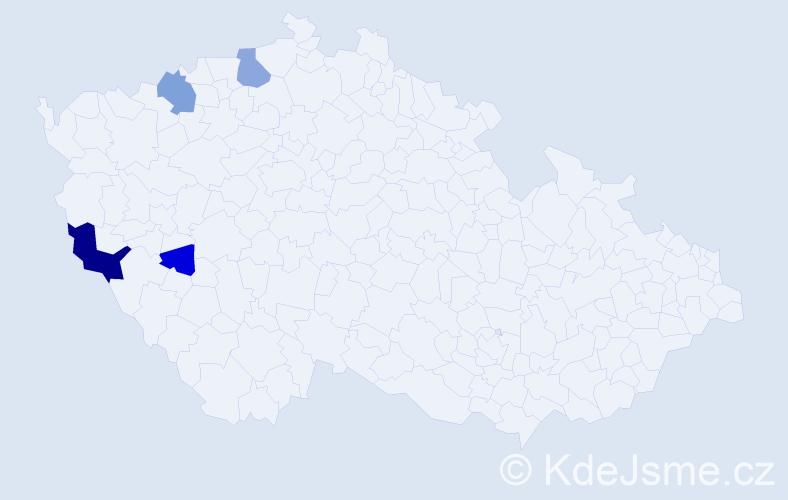 Příjmení: 'Kugl', počet výskytů 9 v celé ČR
