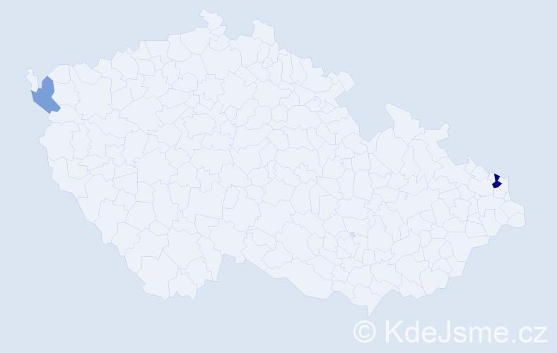 Příjmení: 'Hajovyč', počet výskytů 4 v celé ČR