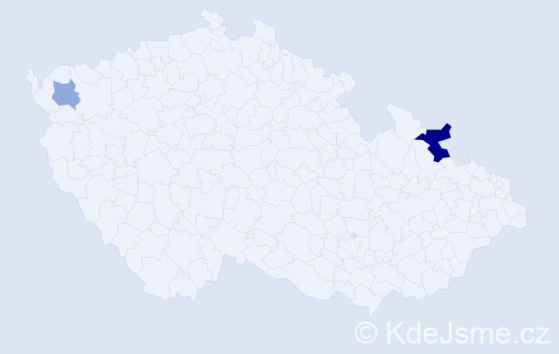 Příjmení: 'Aberla', počet výskytů 4 v celé ČR