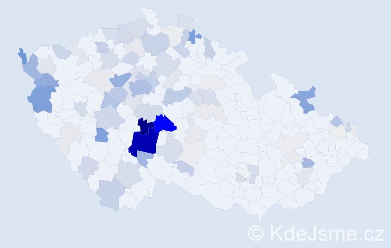 Příjmení: 'Křemen', počet výskytů 343 v celé ČR