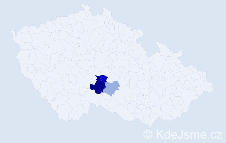 Příjmení: 'Haltr', počet výskytů 5 v celé ČR