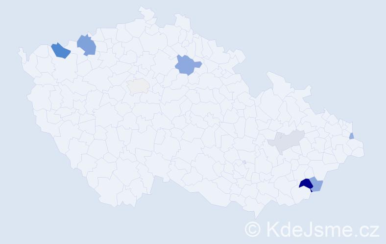 Příjmení: 'Balšan', počet výskytů 17 v celé ČR