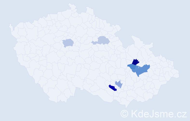 Příjmení: 'Holička', počet výskytů 21 v celé ČR