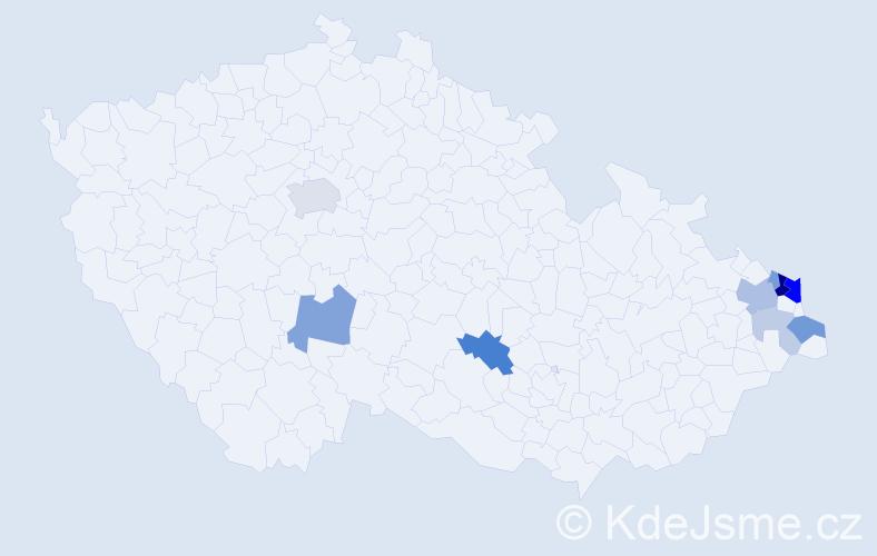Příjmení: 'Bronček', počet výskytů 25 v celé ČR