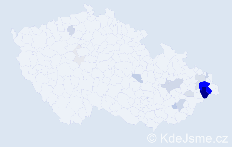 Příjmení: 'Cviček', počet výskytů 69 v celé ČR