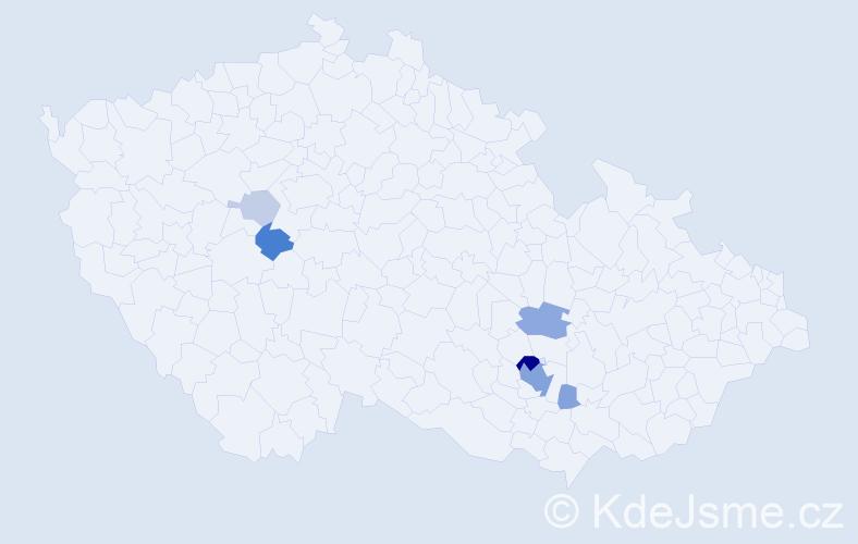 Příjmení: 'Houbalová', počet výskytů 21 v celé ČR