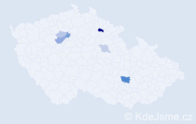 Příjmení: 'Husnajová', počet výskytů 18 v celé ČR