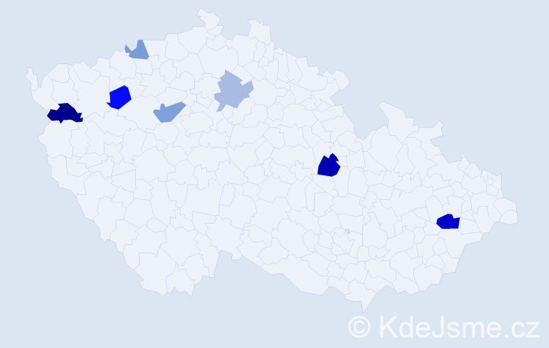Příjmení: 'Čačko', počet výskytů 12 v celé ČR