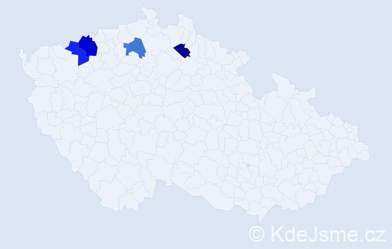 Příjmení: 'Bešornerová', počet výskytů 5 v celé ČR