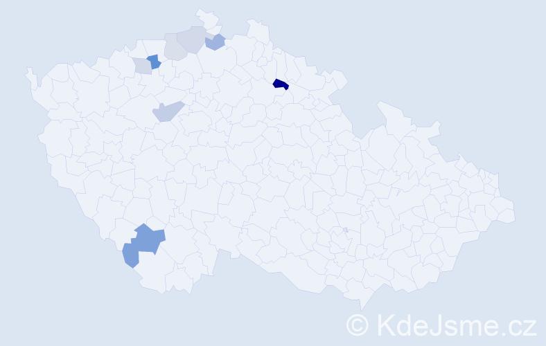 Příjmení: 'Celjak', počet výskytů 13 v celé ČR