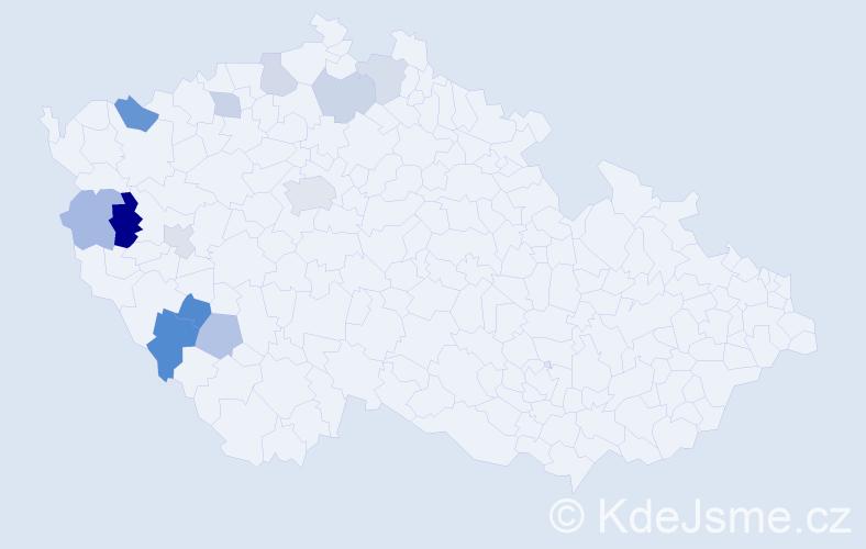 Příjmení: 'Černega', počet výskytů 19 v celé ČR