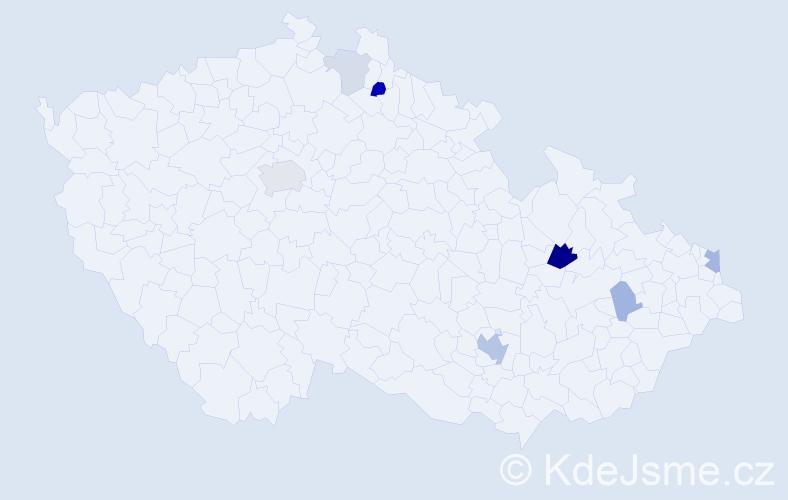 Příjmení: 'Čičo', počet výskytů 19 v celé ČR