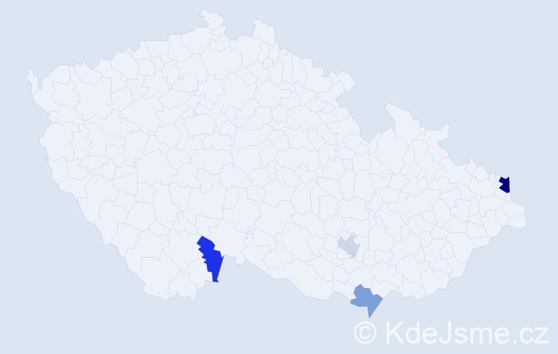 Příjmení: 'Lemelová', počet výskytů 7 v celé ČR