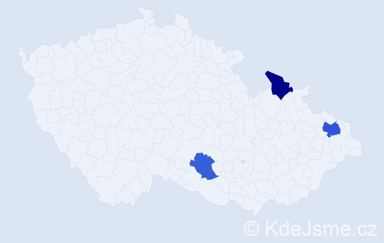 Příjmení: 'Čičaková', počet výskytů 5 v celé ČR