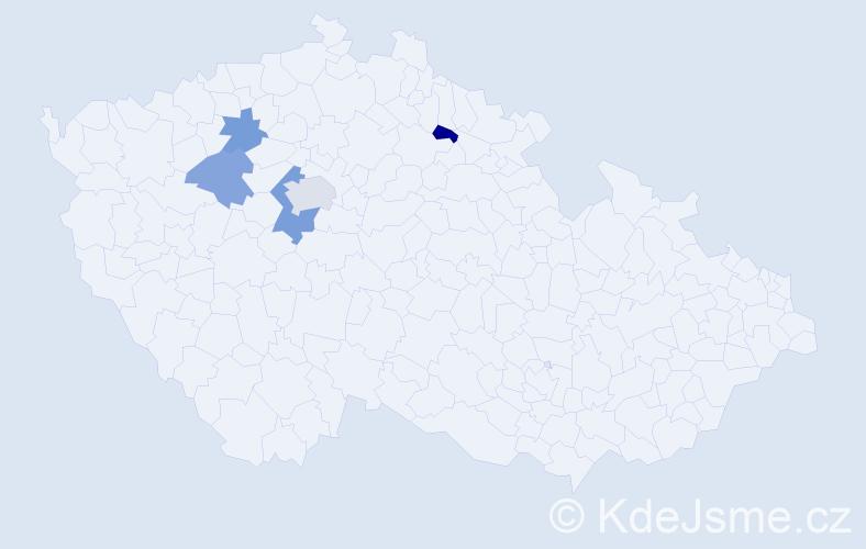 Příjmení: 'Aksamít', počet výskytů 7 v celé ČR